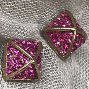 ALL THE RAGE Pink Stud Earrings Pave New No Tag